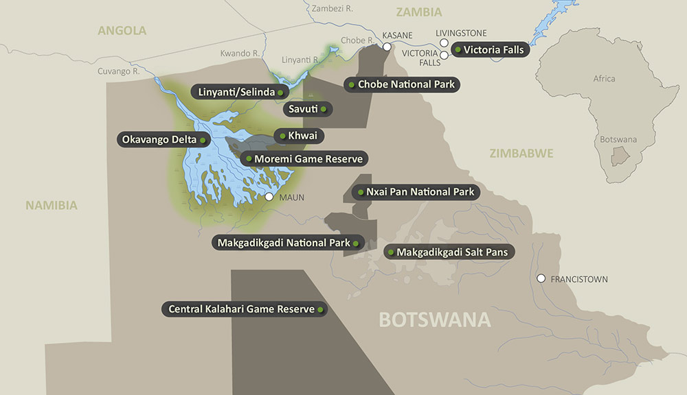 Safari tour map overview in Botswana